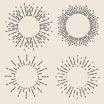 Geometric hand drawn sun beams, lines ray stars.