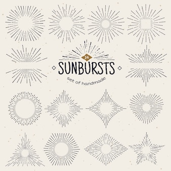 Geometric hand drawn sunburst, sun beams in different forms.