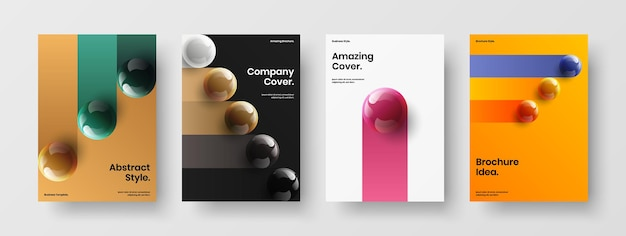 기하학적 광고지 a4 벡터 디자인 레이아웃 컬렉션