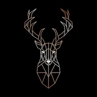 野生のシカの幾何学的な頭。