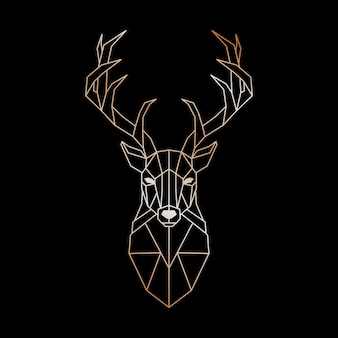 Geometric head of a wild deer.