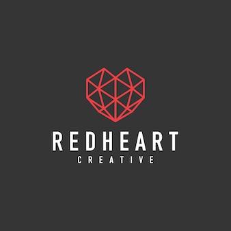 Geometric heart sign logo