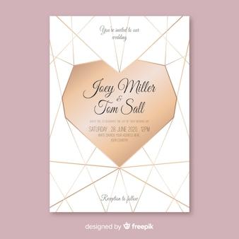 Geometric heart wedding invitation template