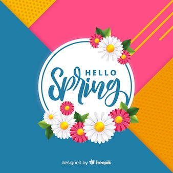 Geometric hello spring background