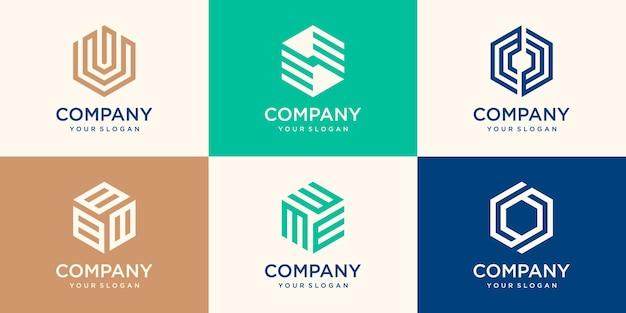 幾何学的な六角形のロゴデザイン