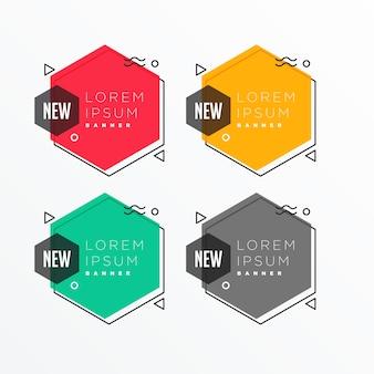 Geometric hexagonal shape banner set in memphis style
