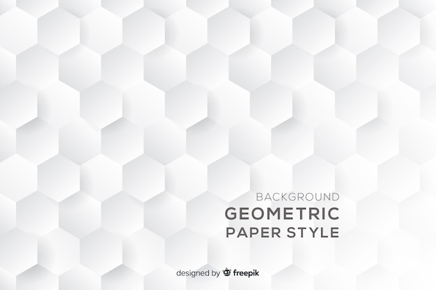 Geometric hexagonal shapes background in paper style