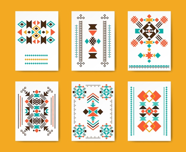 Geometric hipster tribal triangular flyers. ethnic traditional , creative pattern,