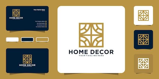 Геометрический логотип домашнего декора и вдохновение для визиток