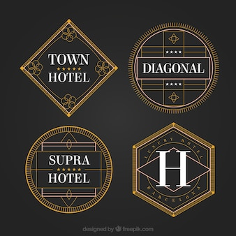 Geometric hotel logos in a vintage style
