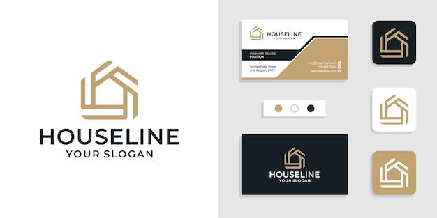 Значок логотипа геометрического дома с линейным стилем и шаблоном визитной карточки