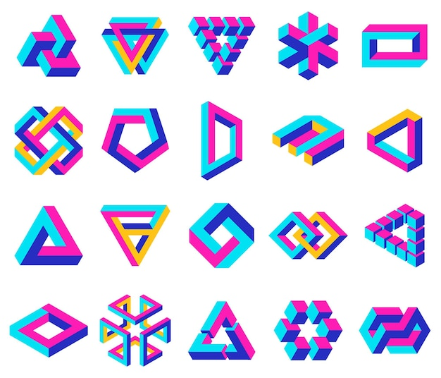 Geometric impossible shapes paradox triangle square and circular figures optical illusion vector set