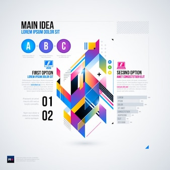 Geometric infographic with colorful options a, b, c