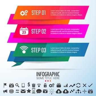 幾何学的インフォグラフィックステンプレートデザイン