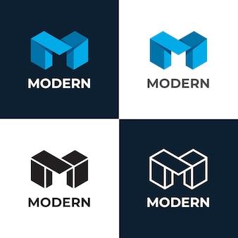 Шаблон логотипа геометрическая буквица m
