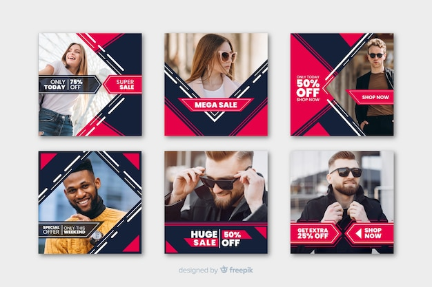 Geometric instagram posts template with photos