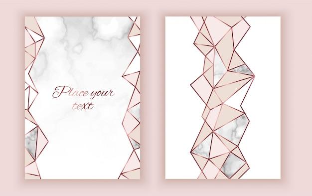 Geometric invitation card, marble texture