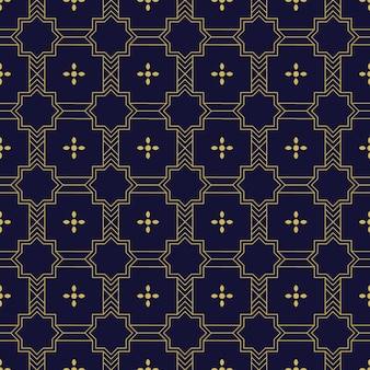 Geometric islamic seamless pattern background wallpaper in luxury gold and navy color