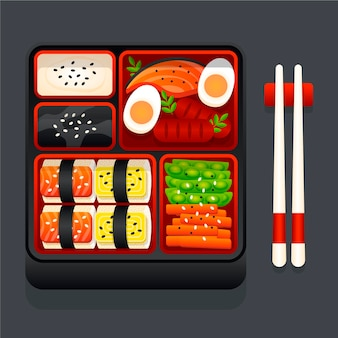 食べ物でいっぱいの幾何学的な日本のお弁当箱