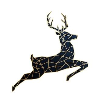 幾何学的なジャンプ鹿のイラスト