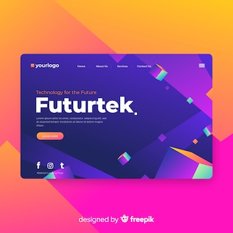 Geometric landing page template