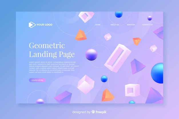 Geometric landing page with 3d models