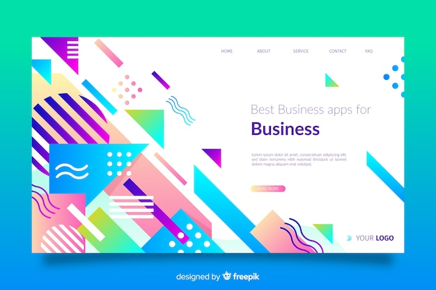 Geometric landing page with colourful shapes