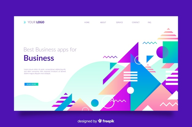 Geometric landing page with geometric shapes