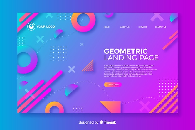 Geometric landing page with gradient