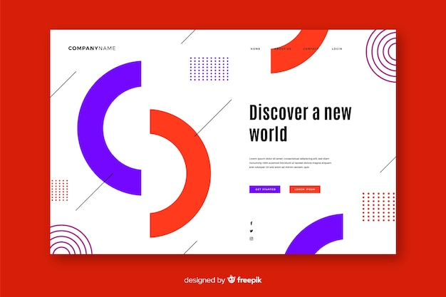 Geometric landing page with half circles