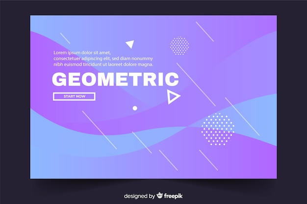 Geometric landing page with liquid background and white shapes