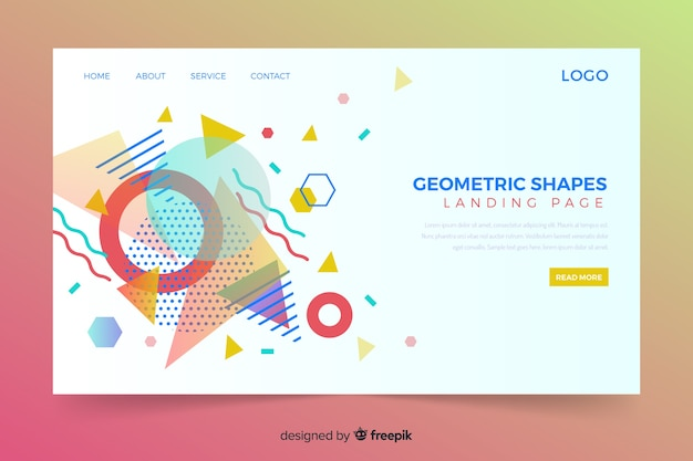 Geometric landing page with memphis colourful shapes
