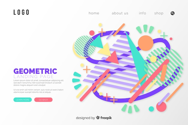 Geometric landing page with memphis lines