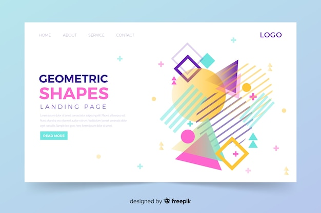 Geometric landing page with memphis shapes