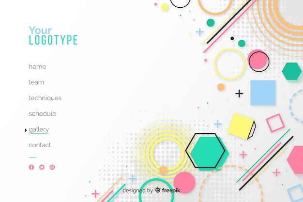 Geometric landing page with shapes and white background