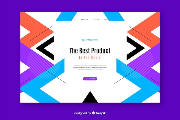 Geometric landing page with triangles