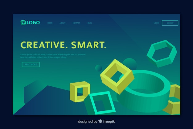Geometric landing page with web elements
