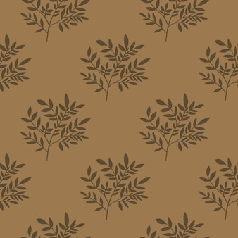 Geometric leaves seamless pattern. tree branches wallpaper. vintage style