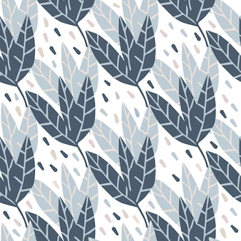 Geometric leaves seamless pattern on white