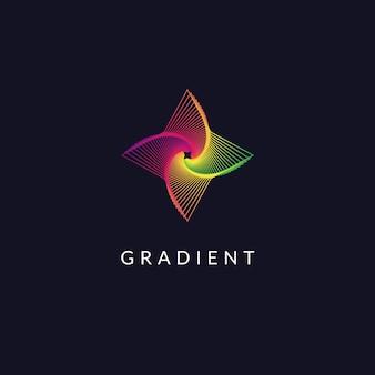 幾何学的なラインアートの最小限のロゴデザインのグラデーションの形と抽象的なシンボル