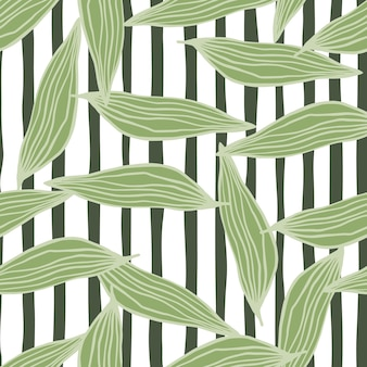 Geometric line leaves pattern. abstract botanical backdrop.