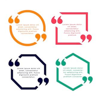 Шаблон цитаты стиль геометрической линии в четырех цветах