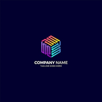 Geometric line technology business logo design template