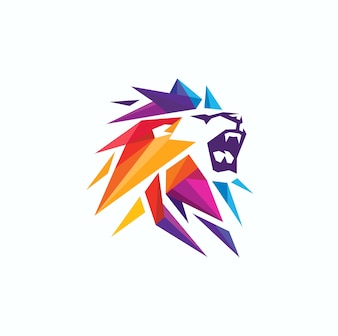 Geometric Lion Beast Logo