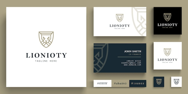Geometric lion head logo  - lion head logo with business card concept