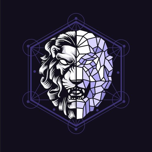 黒で隔離の幾何学的なライオン