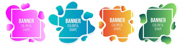 Geometric liquid style simple form frames banner.