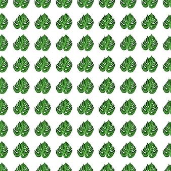 幾何学的な小さなモンステラの葉は、手描きのスタイルでシームレスなパターンを印刷します。