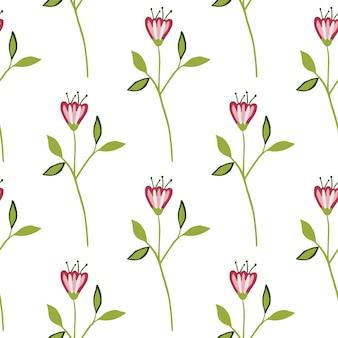 白い背景の上の幾何学的な小さな野花のシームレスなパターン。