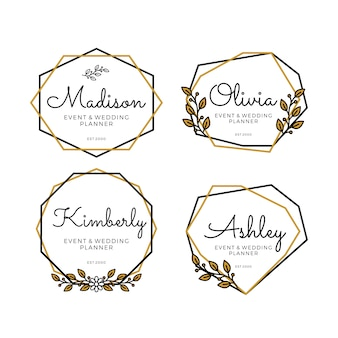 Geometric logo templates for wedding planner